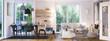 Leinwanddruck Bild - panorama view inside modern european apartment