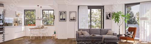 panorama view inside modern european apartment © Christian Hillebrand