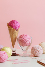 Pastel Colored Ball Of Yarn In...