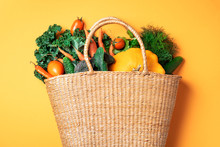 Straw Basket With Organic Vege...