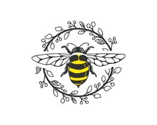 Bee Logo Template With Circle Floral Frame