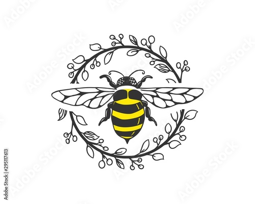 bee logo template with circle floral frame Canvas Print