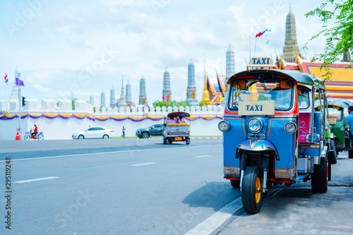 Leinwand Poster  asia local travel in city activity with local taxi (tuk tuk) parking for wait to