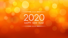 Happy New Year 2020 With Bokeh And Lens Flare Pattern On Summer Orange Color Background