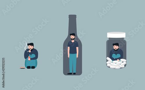 Stampa su Tela  Bad habits set, alcoholism, pills drug addiction, smoking, Vector flat cartoon character illustration