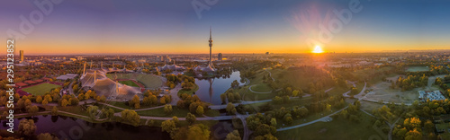 Impressive total view over Munich at sunset with the Olympic Park Canvas Print