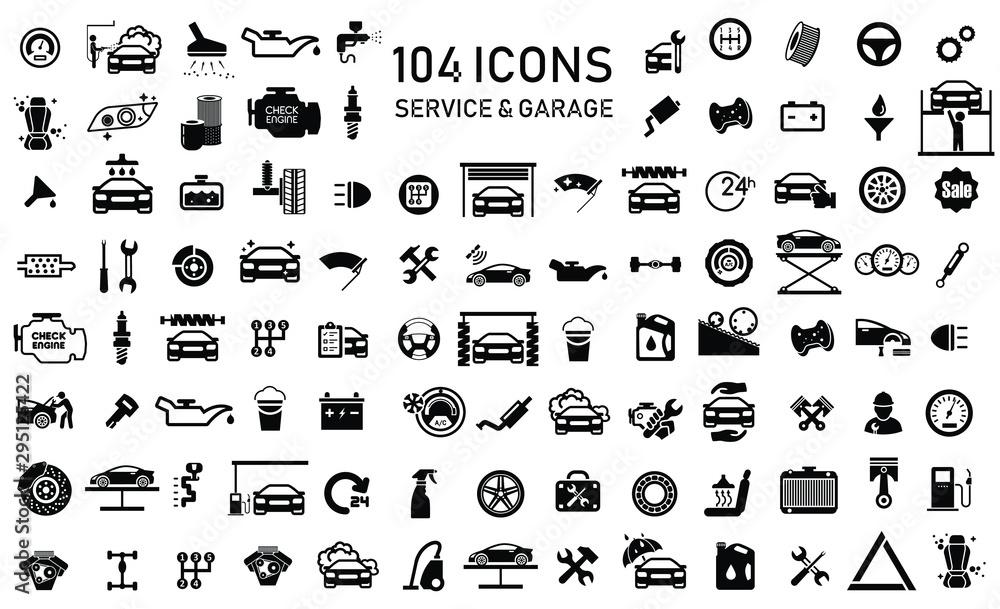 Fototapeta Car service & garage 104 isolated icons set on white background, repair, car detail