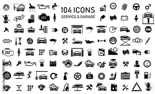 Vászonkép Car service & garage 104 isolated icons set on white background, repair, car det