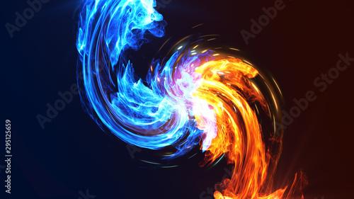 Fotobehang Fractal waves Fire and Ice concept design. 3d illustration.