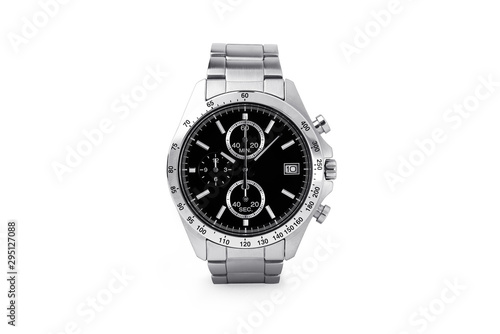 Fototapeta Luxury watch isolated on white background. With clipping path for artwork or design. Black. obraz