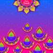 canvas print picture - Diwali festival holiday design with Indian floral Rangoli style.Happy Diwali