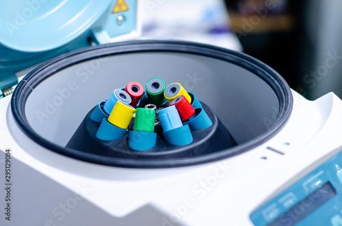 Close-up of centrifuge test tube mixer. Canvas Print