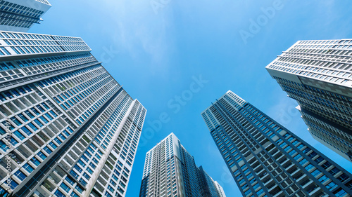 Ho chi minh, Vietnam - September 27 2019 : Vinhome real-estate Central Park in district 2. The developer for the project is Vingroup. Low angle view.