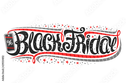 Fototapeta Vector layout for Black Friday event, voucher with curly calligraphic font with flourishes, decorative pricetag, design concept with swirly brush lettering for words black friday on white background. obraz