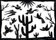 Cordel Style Illustration Of A Group Of Birds Chirping Among Cactus Trees