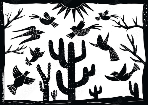 Obraz na płótnie cordel style illustration of a group of birds chirping among cactus trees