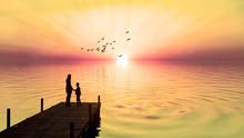 Madre E Hijo En El Embarcadero Del Lago