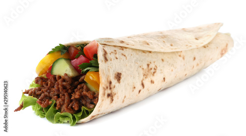 Cuadros en Lienzo Delicious meat tortilla wrap isolated on white