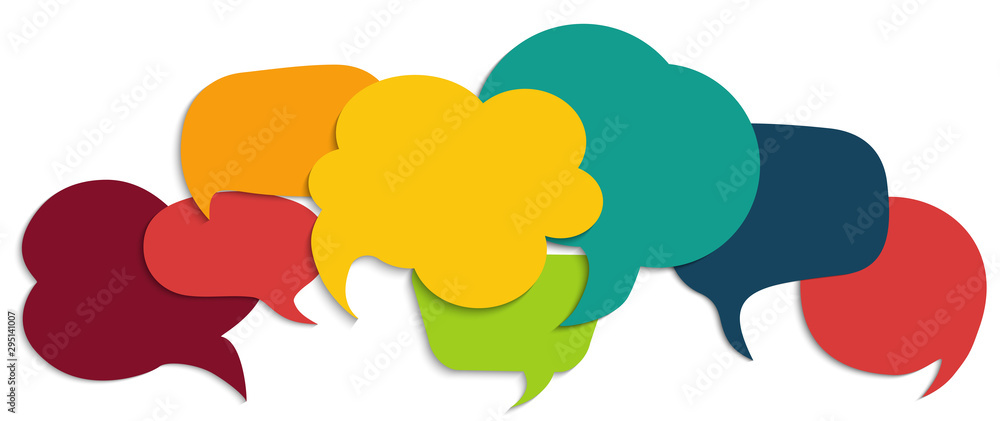 Fototapeta Colored speech bubble. Communication concept. Social network. Colored cloud. Speak - discussion - chat. Symbol talking and communicate. Friendship and dialogue diverse cultures