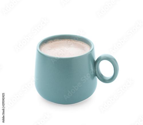 Foto auf Gartenposter Schokolade Delicious cocoa drink in blue cup on white background
