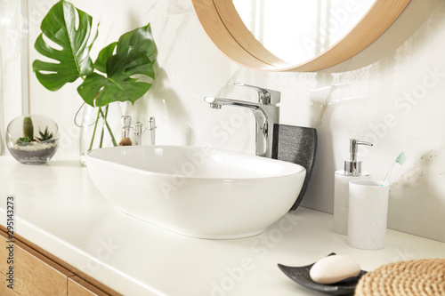 Stylish bathroom interior with vessel sink and decor elements Tablou Canvas