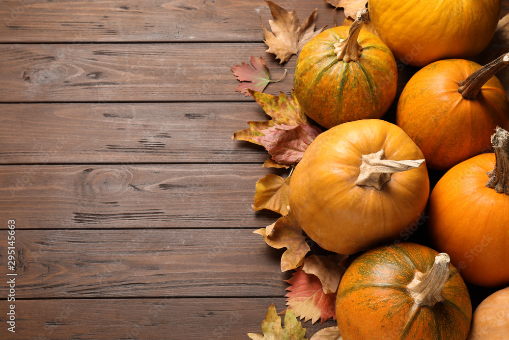 Fototapety, obrazy: Flat lay composition with different ripe pumpkins on wooden background, space for text. Holiday decoration