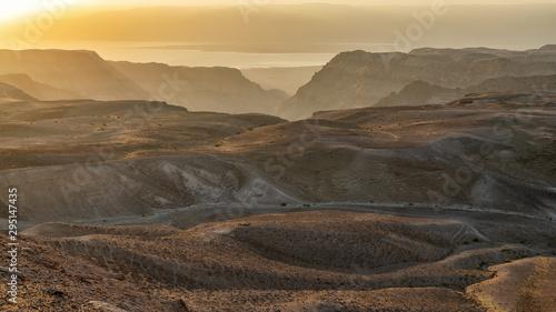 Sunrise over desert from Namer Peak, Israel Canvas-taulu