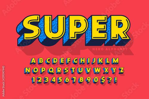 Fototapeta  Trendy 3d comical font design, colorful alphabet, typeface.