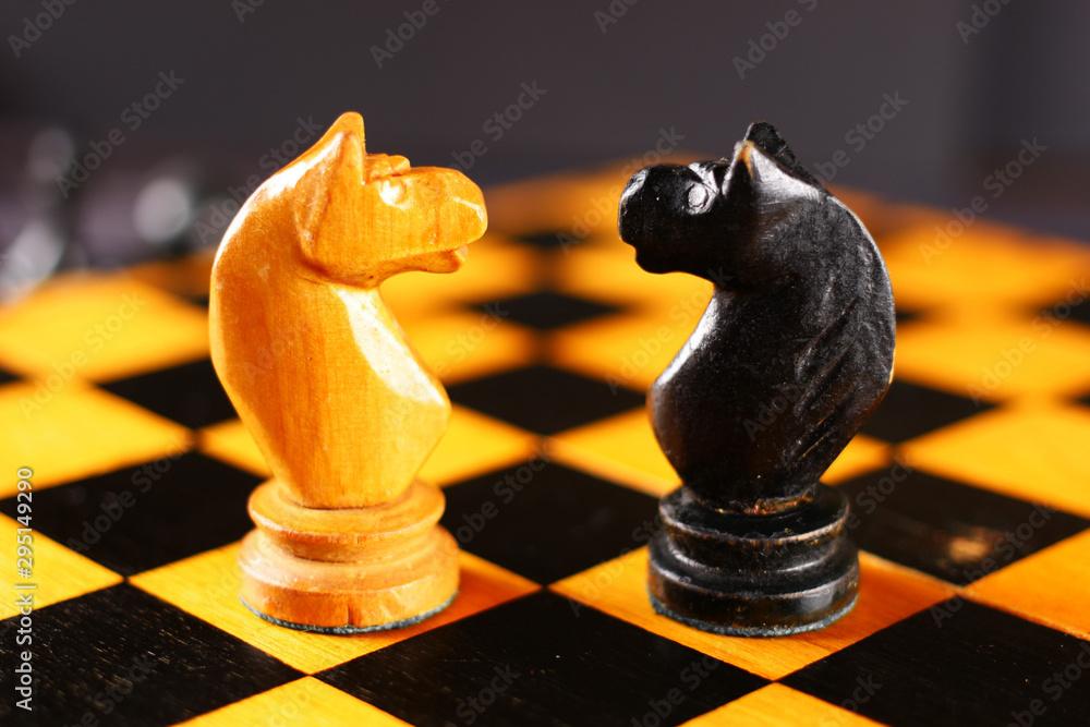 Fototapety, obrazy: Chess black horse opposite white