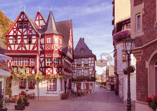 Obraz Bacharch, Germany, 09.20.2019, Half-timbered buildings in the old town of Bacharch. Rhine Valley - fototapety do salonu