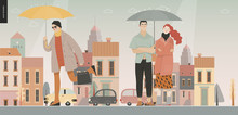 Rain -walking People -modern Flat Vector Concept Illustration Of People With Umbrella, Walking Or Standing In The Rain In The Street, City Houses And Cars.