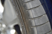 Car Has Tires With Tread Marked