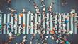 Aerial. People crowd on pedestrian crosswalk. Top view background. Toned image.