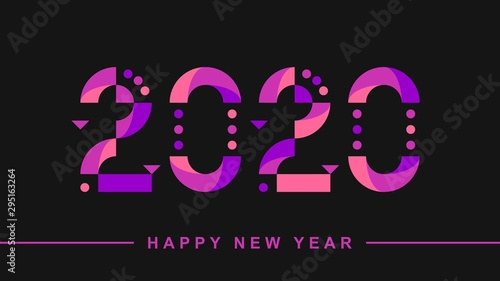 Fotomural  Happy New Year 2020 vector text design. Holiday background.