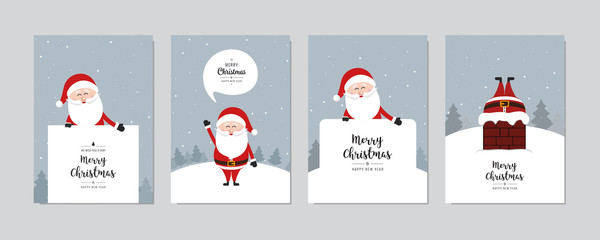 Christmas card set. Merry Christmas and Happy New Year greeting with cute santa claus lettering vector.