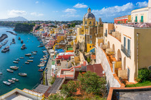 Panoramic Sight Of The Beautiful Island Of Procida, Near Napoli, Campania Region, Italy.