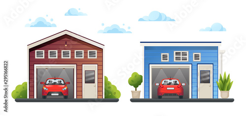 Fotografia Two open different garages with red cars inside and green plants near, sky with clouds, vector illustration
