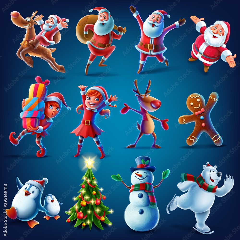 Fototapety, obrazy: characters for Christmas graphics