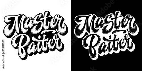 Photo Set of hand drawn lettering logo - Master Baiter - in two colors