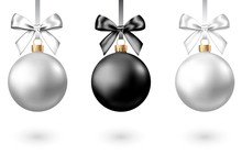 Realistic  Black, Silver  Christmas  Balls  With Bow.
