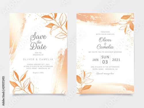 Fotografie, Obraz  Gold floral wedding invitation card template set with branch and glitter decoration