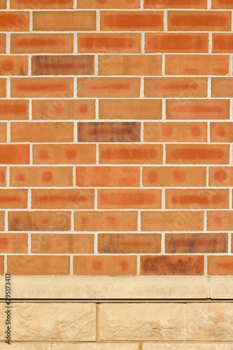 Orange color brick wall texture with 1/3 offset stagger brickwork pattern