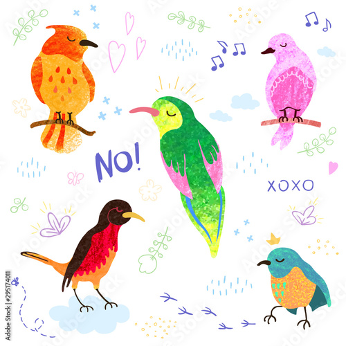 Photo Vector colorful set with illustrations of cute birds isolated on white background