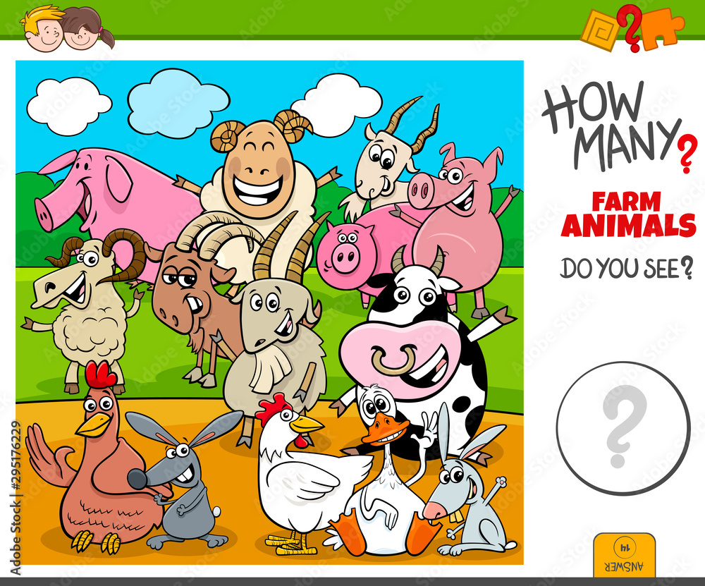 Fototapety, obrazy: how many farm animals educational task for kids