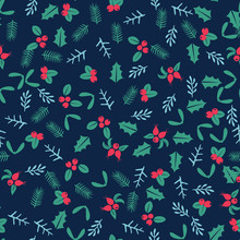 Winter Christmas Seamless Pattern Background With Wild Forest Berries And Leaves Retro Style Vector Design