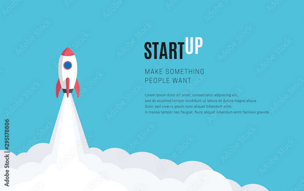 Fototapeta Flat design business startup launch concept, rocket icon. Vector illustration.