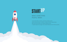Flat Design Business Startup Launch Concept, Rocket Icon. Vector Illustration.