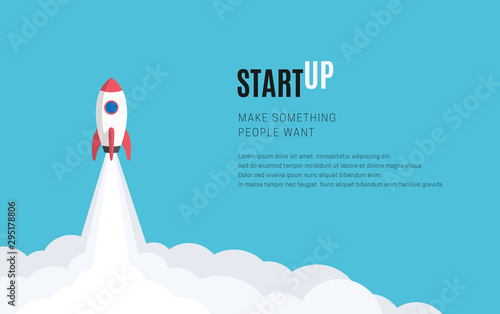 Fototapeta Flat design business startup launch concept, rocket icon