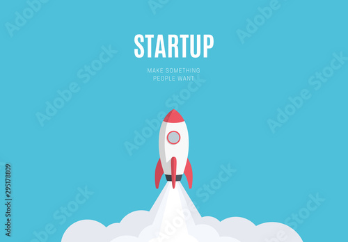 Fotografie, Obraz Flat design business startup launch concept, rocket icon