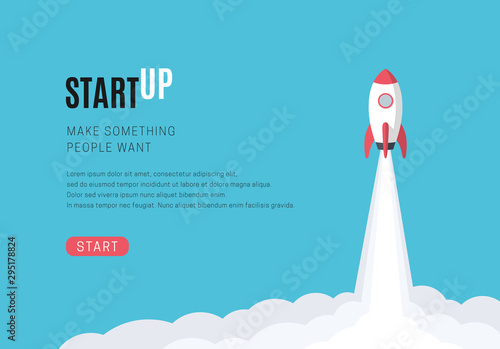 Flat design business startup launch concept, rocket icon. Vector illustration. - 295178824